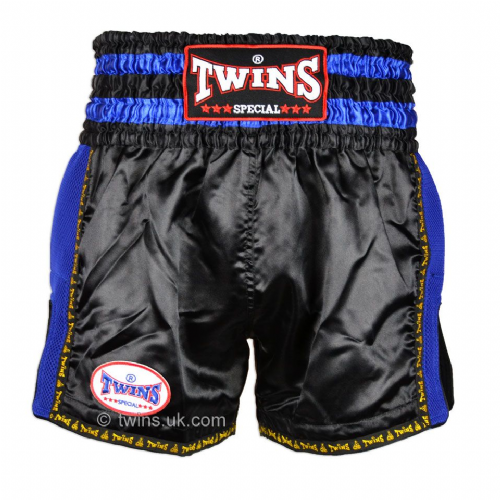 Twins TWS-920 Black/Blue Retro Muay Thai Shorts